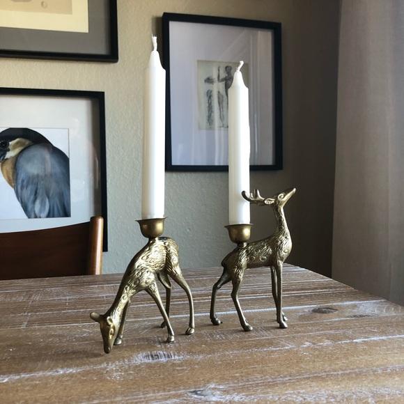 Vintage Brass Reindeer Taper Candle Holders Set/ 2